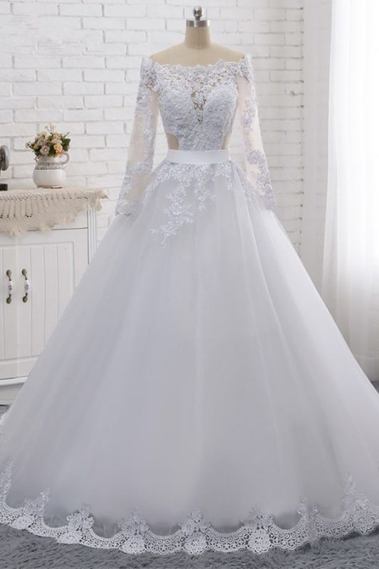 Off-the-Shoulder Long Sleeves Lace Tulle Wedding Dresses