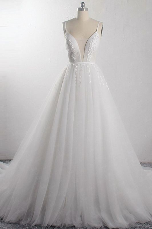 A-Line Deep-V-Neck Sleeveless Tulle Wedding Dresses