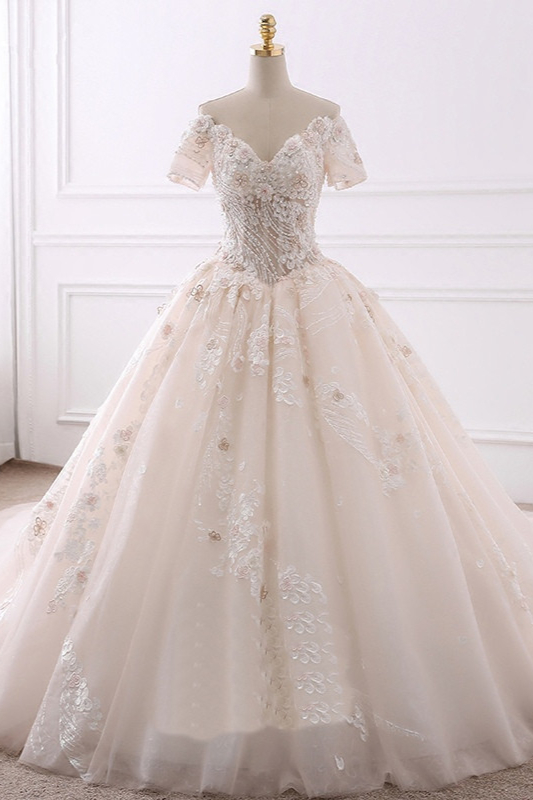 Ball Gown V-Neck Tulle Beadings Short Sleeves Bridal Gowns