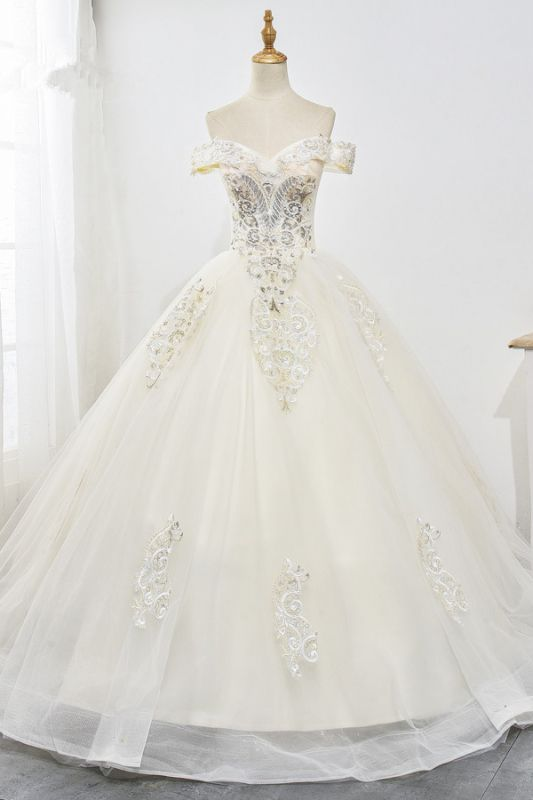 Champagne Tulle Ball Gown Lace Wedding Dresses Sleeveless