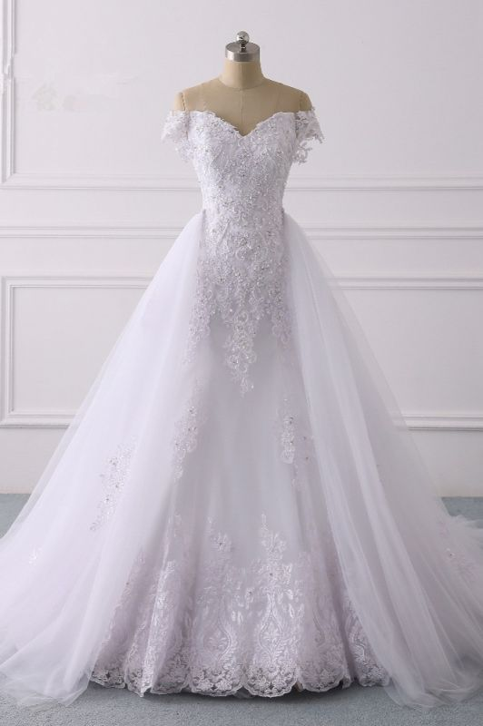 Off-the-Shoulder Sleeveless Tulle Lace Wedding Dresses
