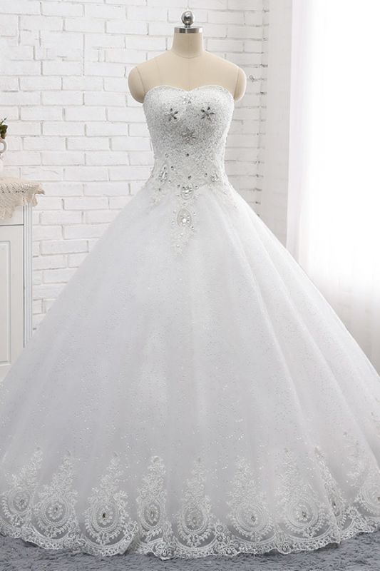 A-Line Lace Appliques Sleeveless Tulle Rhinestones Wedding Dresses