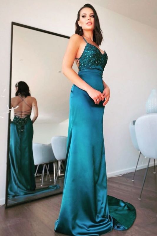 Cheap Long Mermaid Lace Prom Dresses Sleeveless