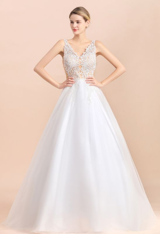 A Line Lace Chiffon  V Neck Champagne Wedding Dresses Sleeveless