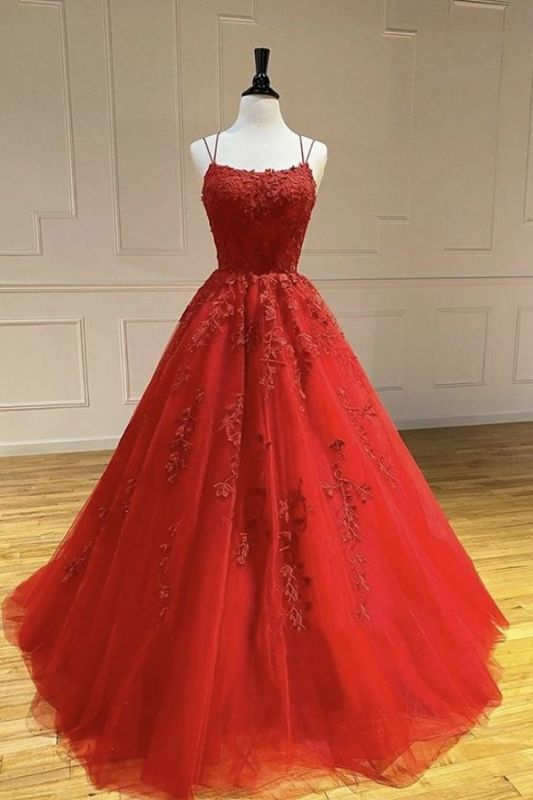 A Line Red Lace Tulle Prom Dresses Sleeveless