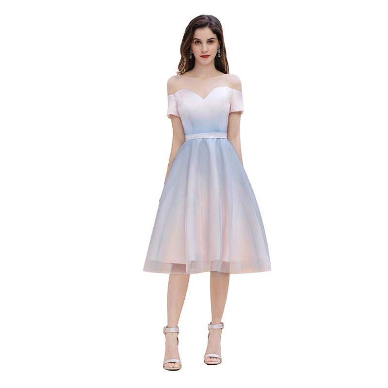 Stylish Strapless Sweetheart Prom dress Tulle Satin Knee Length Party Dress