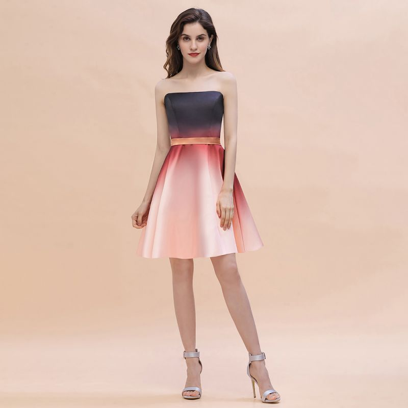 Strapless Short Homecoming Dress Satin Tulle Cocktail Dress with Sash