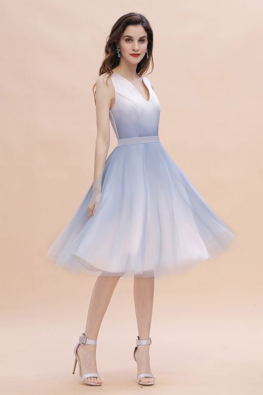 V-neck Sleeveless Homecoming Dress Satin Tulle Cocktail Dress On sale