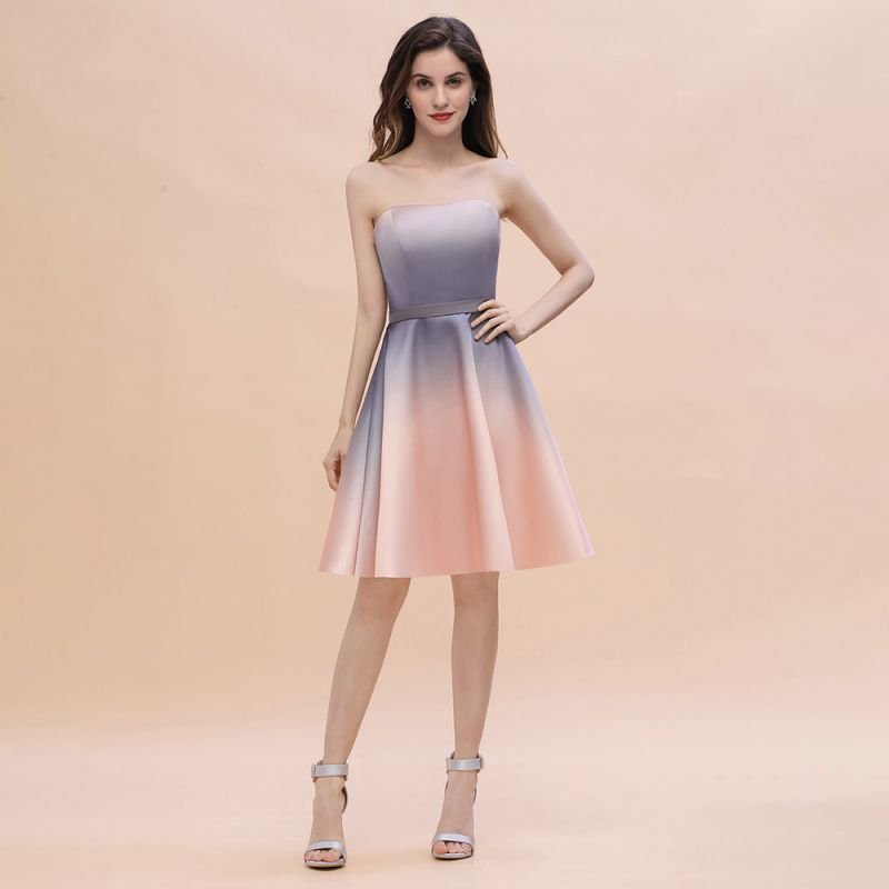 Strapless Short Cocktail Dress Satin Tulle Homecoming Dress
