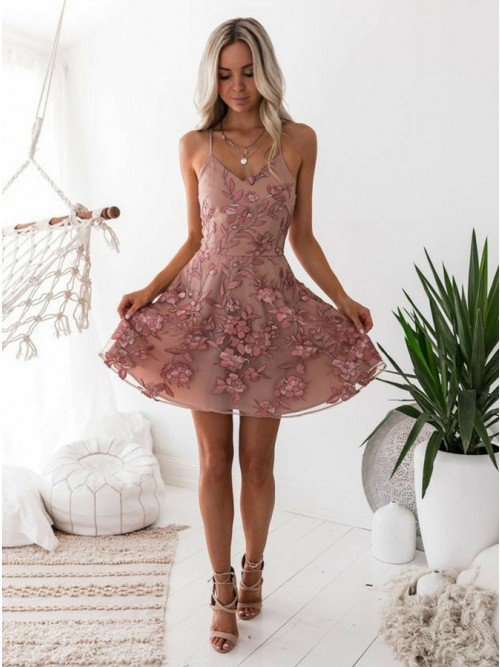A Line Pink Floral Lace Mini Homecoming Dresses