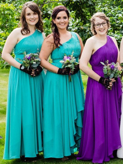 A-Line Chiffon One Shoulder Ruched Bridesmaid Dresses