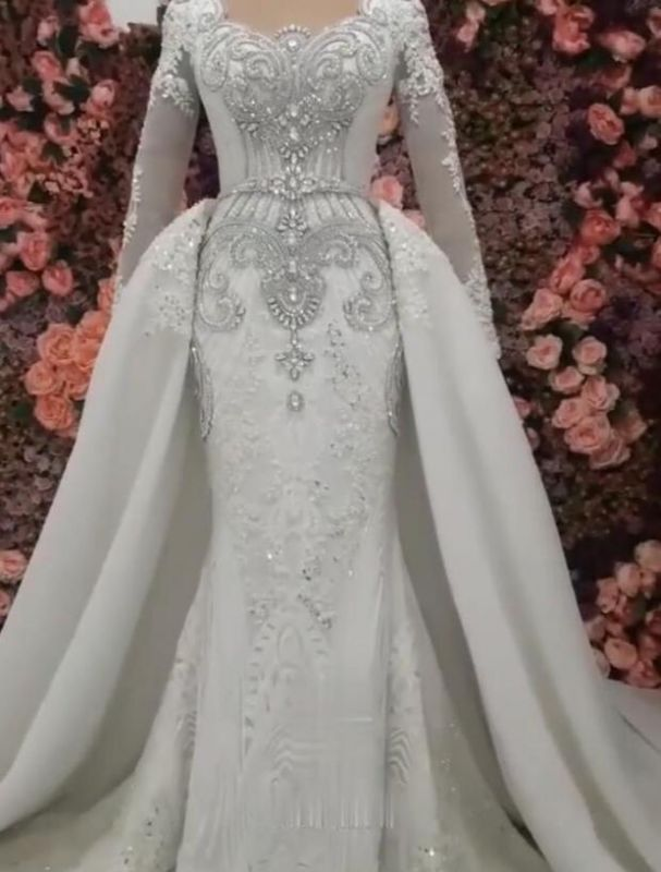 Long Sleeve Crystal Overskirt Lace Bridal Gowns