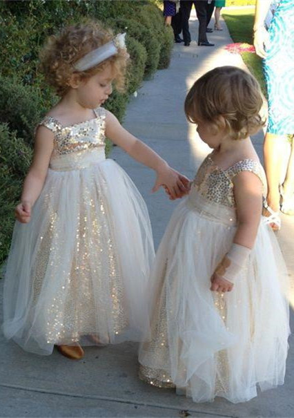 Cute A-line Sleeveless Straps Sequined Tulle Flower Girl Dresses