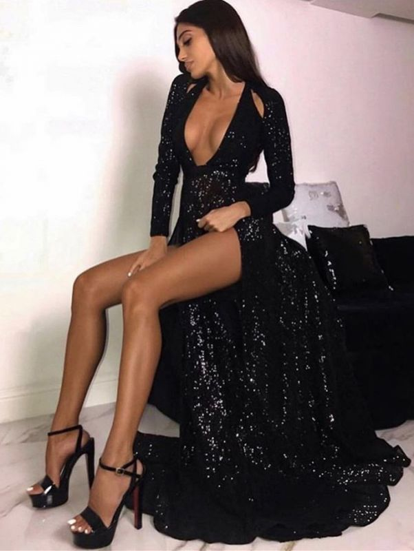 Sexy Black Sequins Long Sleeves Prom Dresses