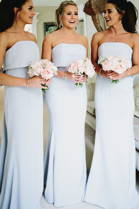 Simple Fashion Bowknot Strapless A Line Sleeveless Bridesmaid Dress On Sale
