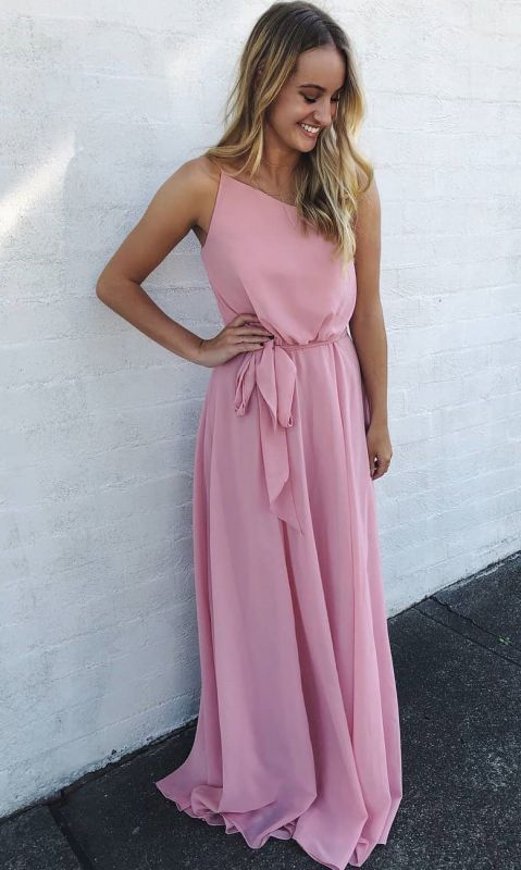 A Line Floor Length Sleeveless Pink Chiffon Prom Gowns