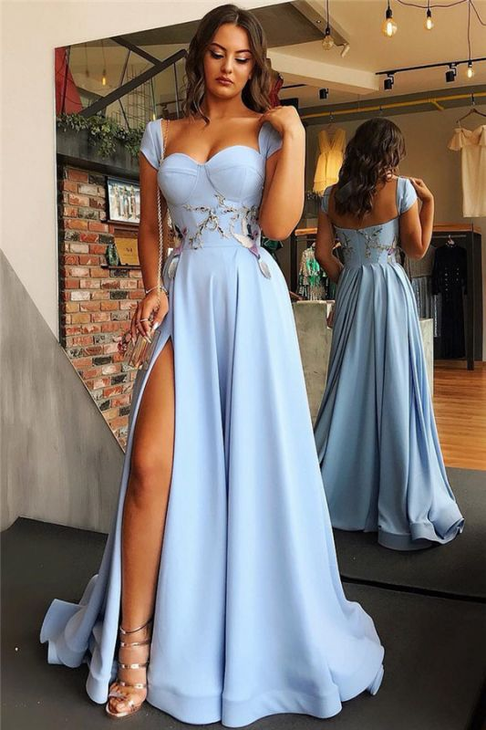 Sexy Side Slit Cap Sleeves Open Back Blue Evening Dresses