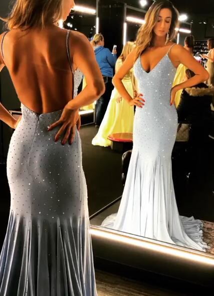 Spaghetti-Straps Mermaid Backless Crystal Prom Dresses