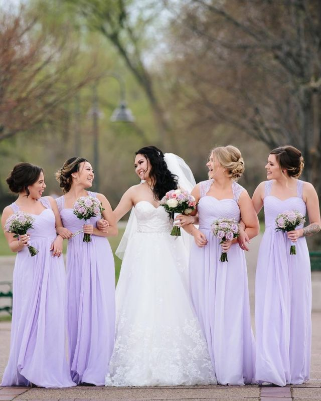 A Line Floor Length Spaghetti Sleeveless Lace Bridesmaid Dresses