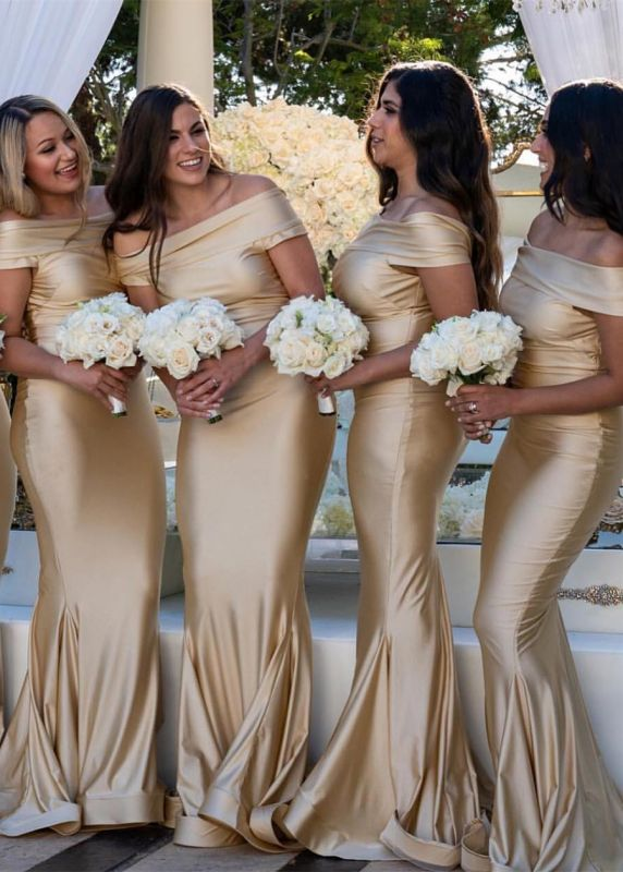 Mermaid Long Off-the-Shoulder Bridesmaid Gowns
