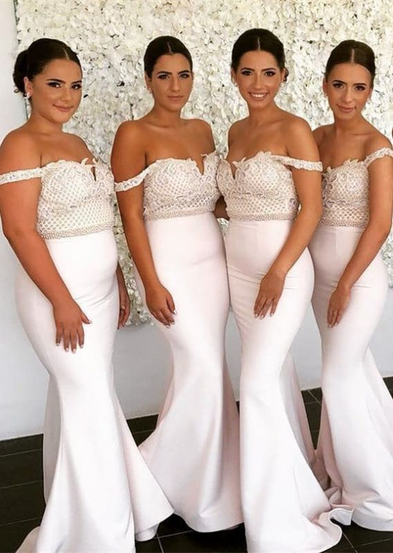 Cheap Ivory Lace Mermaid Bridesmaid Dress Off-the-shoulder