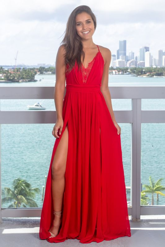 Strap Sleeveless Criss Cross Lace Red Prom Dress