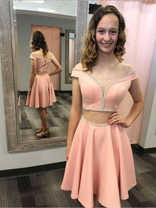 A Line off the shoulder Two Piece Homecoming Dresses