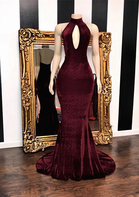 Long Keyhole Burgundy Velvet Mermaid Evening Gowns