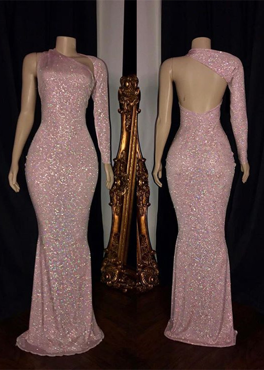Long Sleeve Mermaid Pink Sequins Prom Dresses