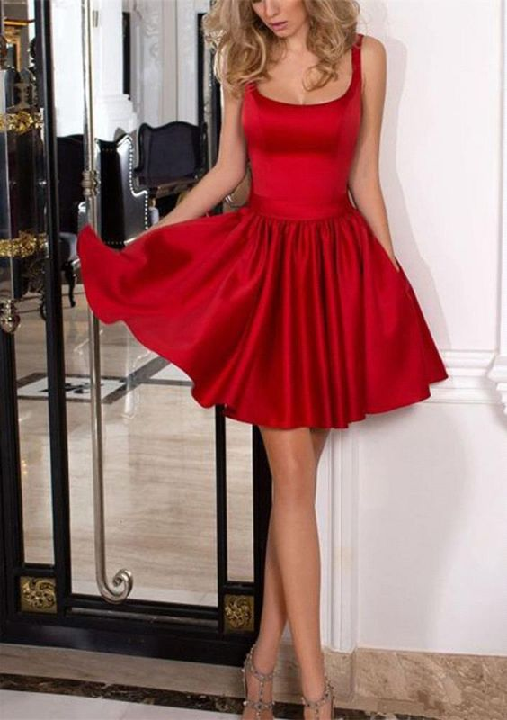 A-line Short Bow Square Red Homecoming Dresses