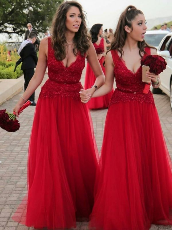 A-Line V-Neck Red Tulle Long Bridesmaid Dresses