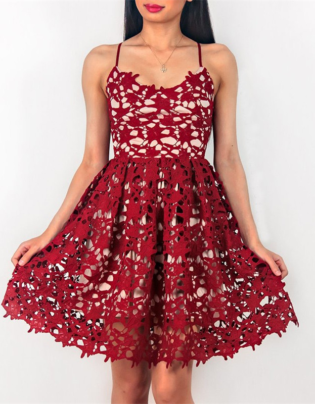 Sleeveless Short Spaghetti Strap Red Lace Homecoming Dresses