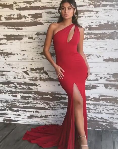 Red One Shoulder Mermaid Evening Gowns With Slit