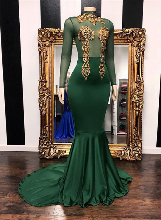 Mermaid Green Long Sleeves High-Neck Evening Gowns