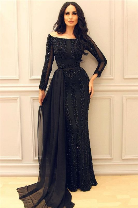 Black Chiffon Train Sexy Sequins Evening Dresses with Sleeves