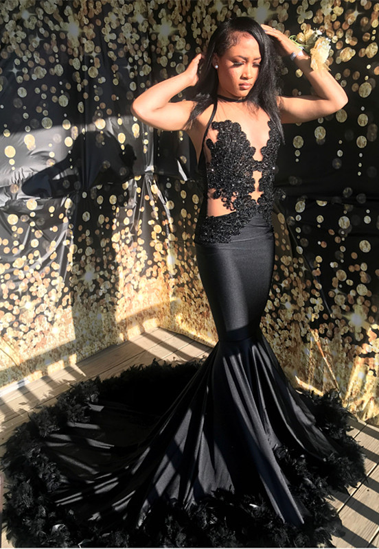 Sexy Black Lace Mermaid Evening Gowns With Feather