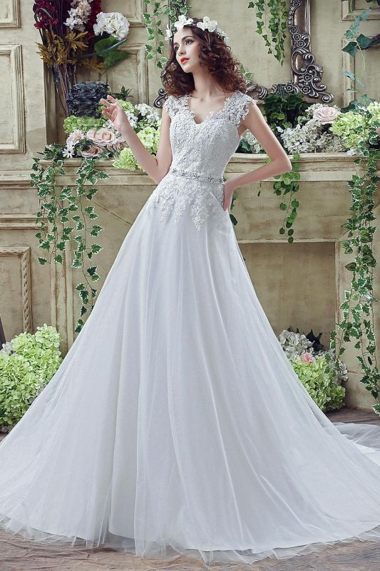 Cheap A line Lace Chiffon V Neck Bridal gowns with belt