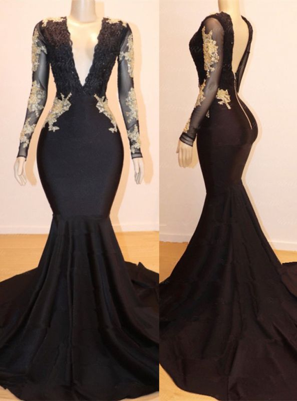 Long Sleeve Gold Lace V-Neck Black Prom Dresses
