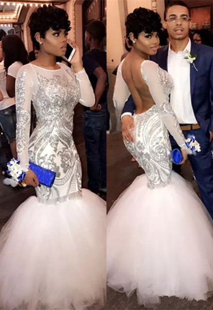 Sexy Long Sleeve Mermaid Sequins Long Prom Dresses