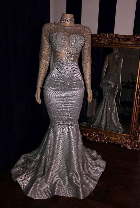 Mermaid Sequins Long Sleeve Silver Evening Gowns