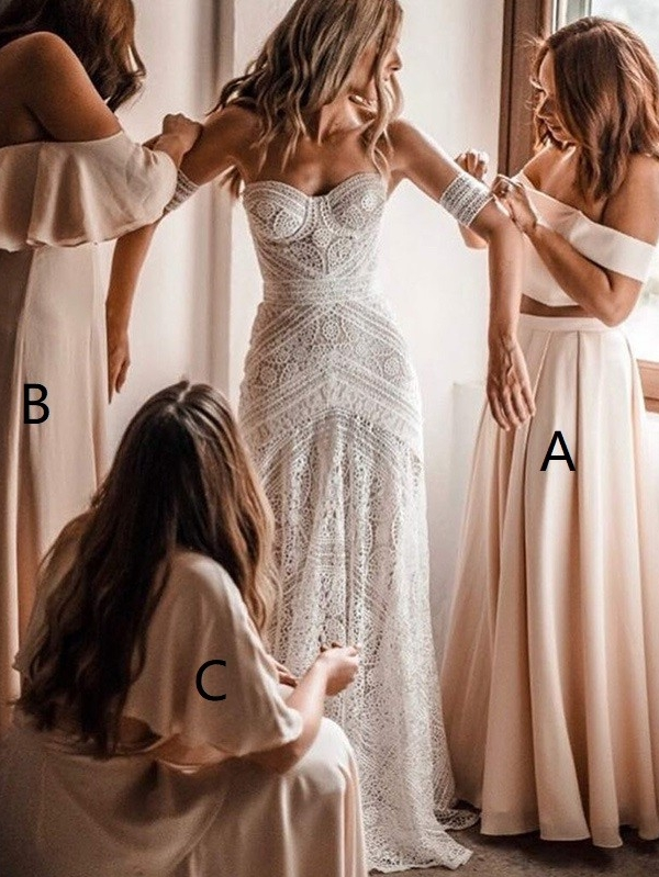 A-Line Off-The-Shoulder Long Bridesmaid Dresses