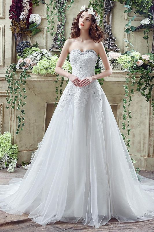Cheap A Line Lace Beaded Sweetheart Lace Up Wedding Gowns