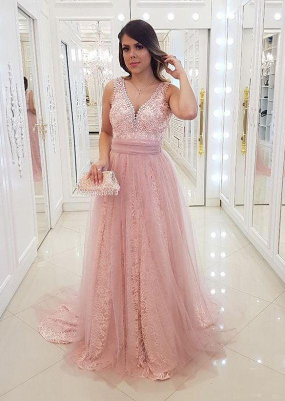 Long V-Neck Sleeveless Lace Pink Evening Gowns
