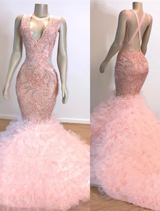 Mermaid Lace Tulle Pink V-Neck Evening Gowns