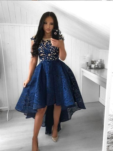 High Low Navy Blue Lace Homecoming Dresses Prom Dress