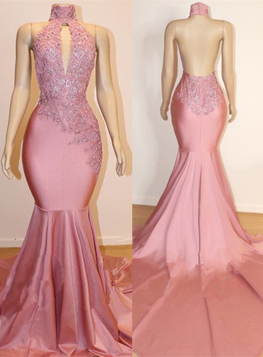High-Neck Mermaid Lace Appliques Sleeveless Prom Dresses