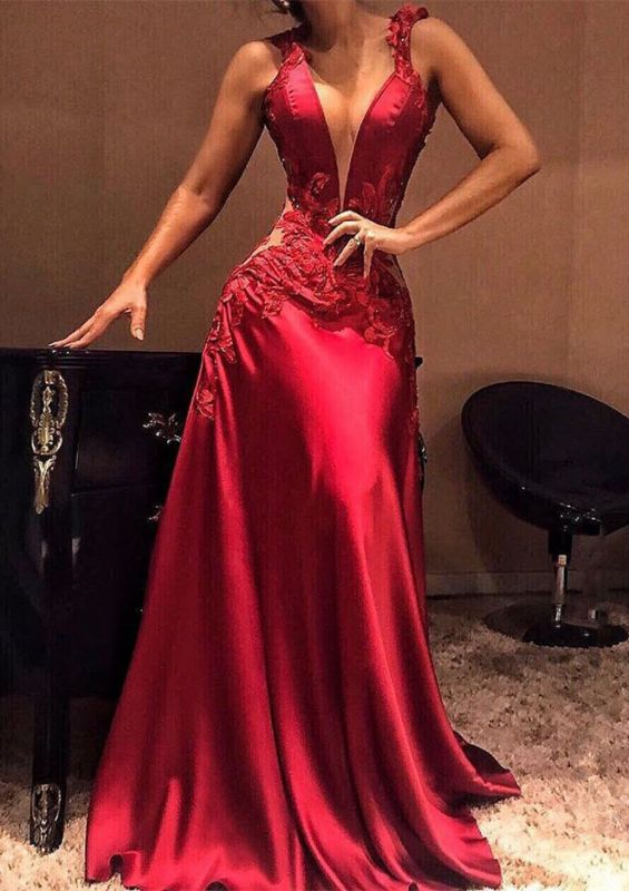 Sexy Sleeveless Long Appliques Mermaid Prom Dresses V-Neck