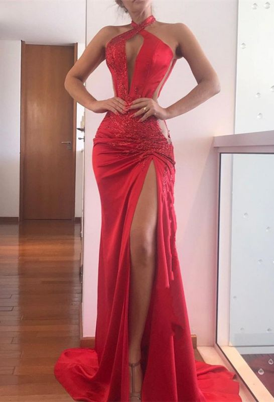 Sleeveless Lace Appliques Halter Red Evening Gowns