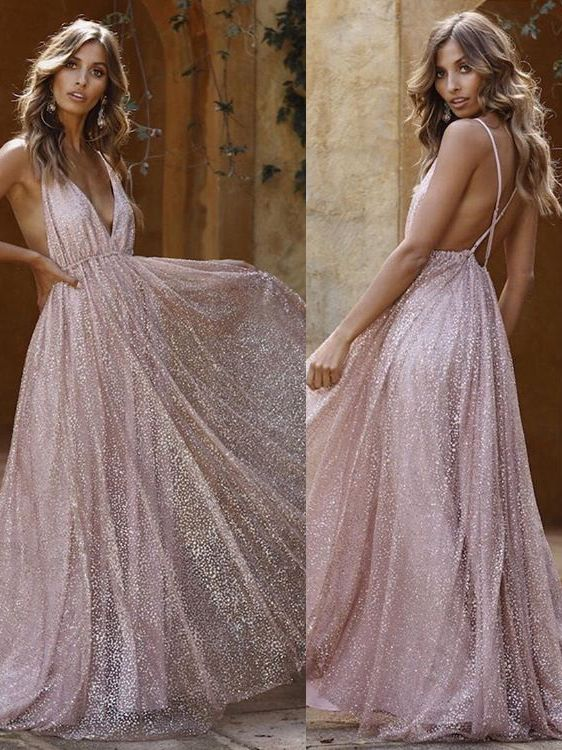 A-Line Spaghetti Straps Backless Pink Sequins Prom Dresses
