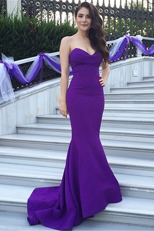 Sweetheart Purple Mermaid Lace Long Prom Dresses